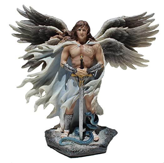 Religious Gifts Six Winged Guardian Angel with Sword and Serpent 11 Inch Light Color Stone Gothic Statue