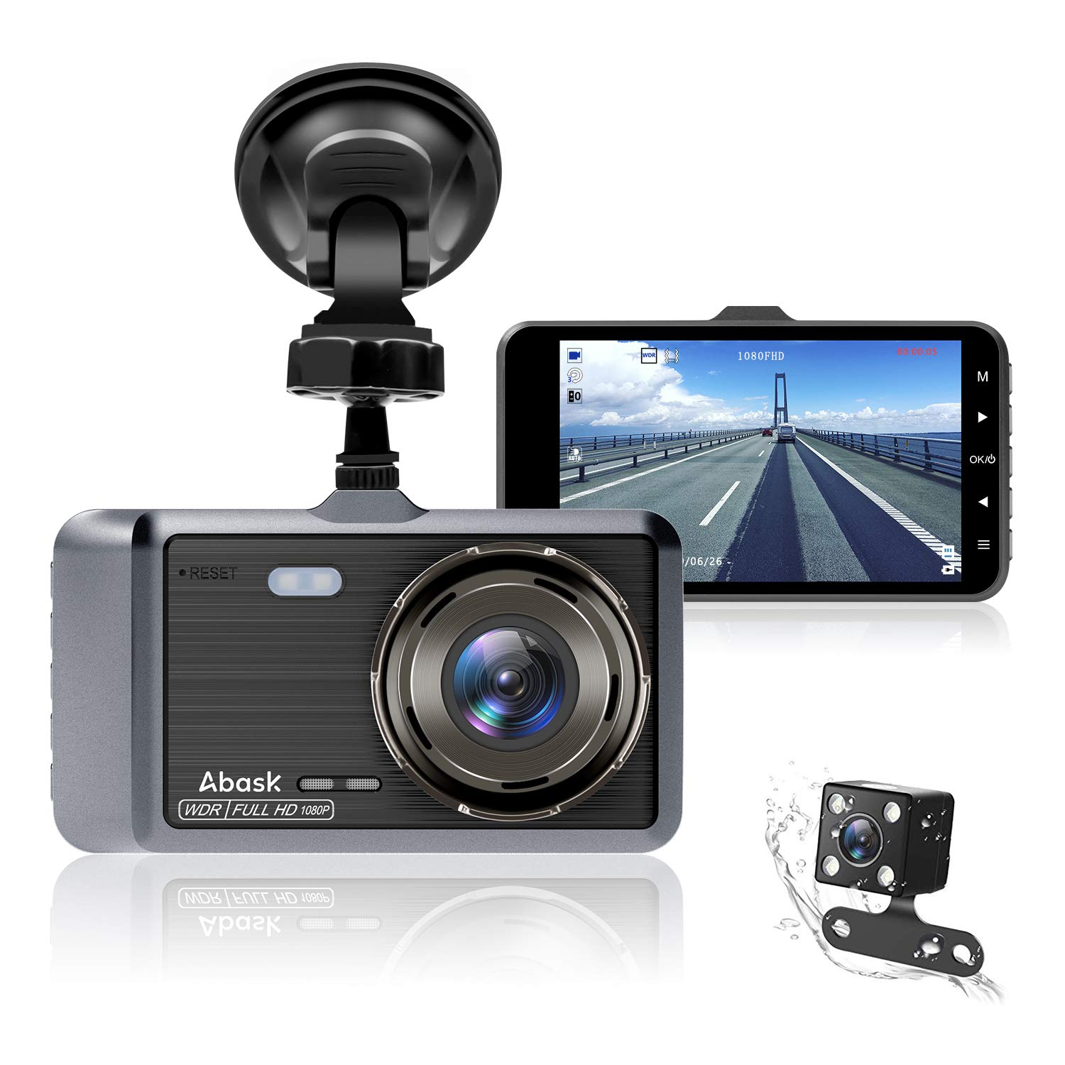 Dash Cam, Abask Dash Camera for Cars with Night Vision and Parking Dash Cam Front and Rear Dual Camera with 4'' IPS Screens, 1080P Full Hd, G-Sensor, Wdr 170°Wide Angle and Motion Detection by ABASK