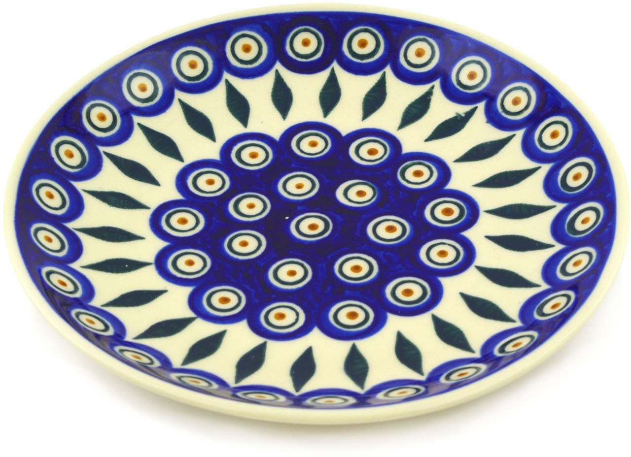 Polish Pottery Dessert Plate 7-inch Peacock by Polmedia Polish Pottery (Image #2)