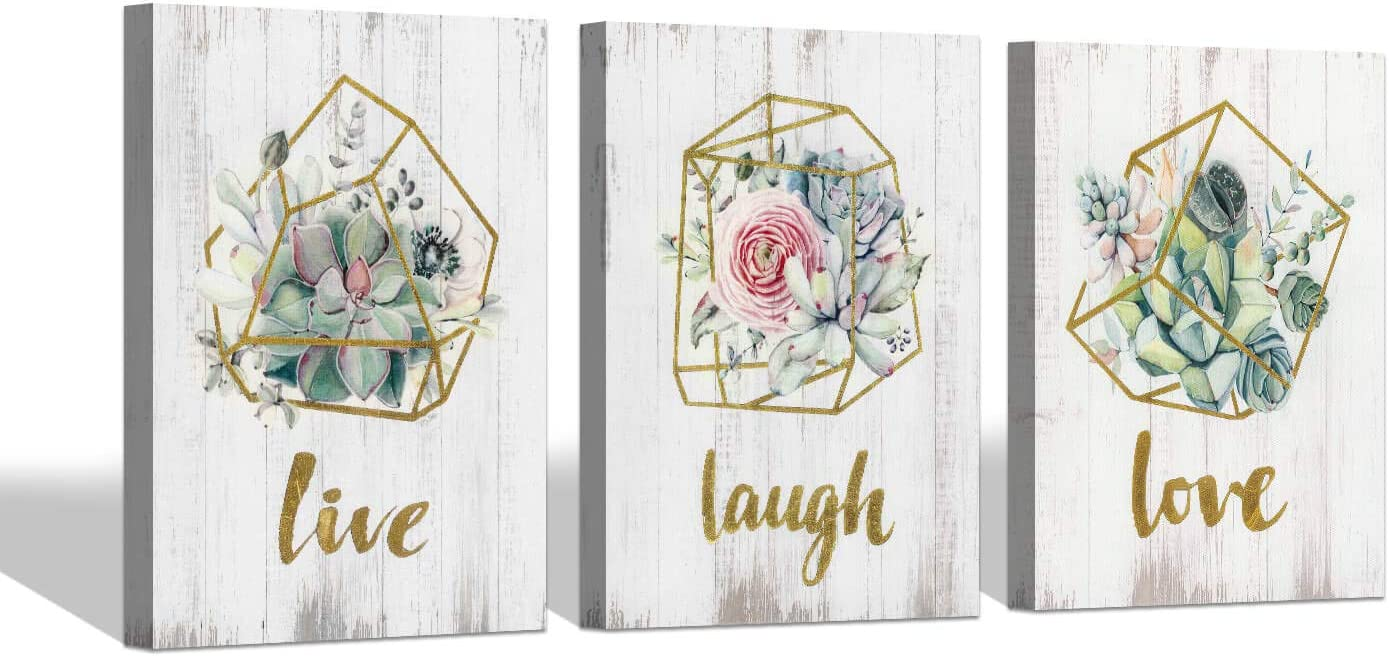 SD SOFT DANCE Succulent Flowers Canvas Wall Art: Floral Blossom Artwork with Gold Foil Words for Bathroom Decor (24'' x 18'' x 3 Panels)