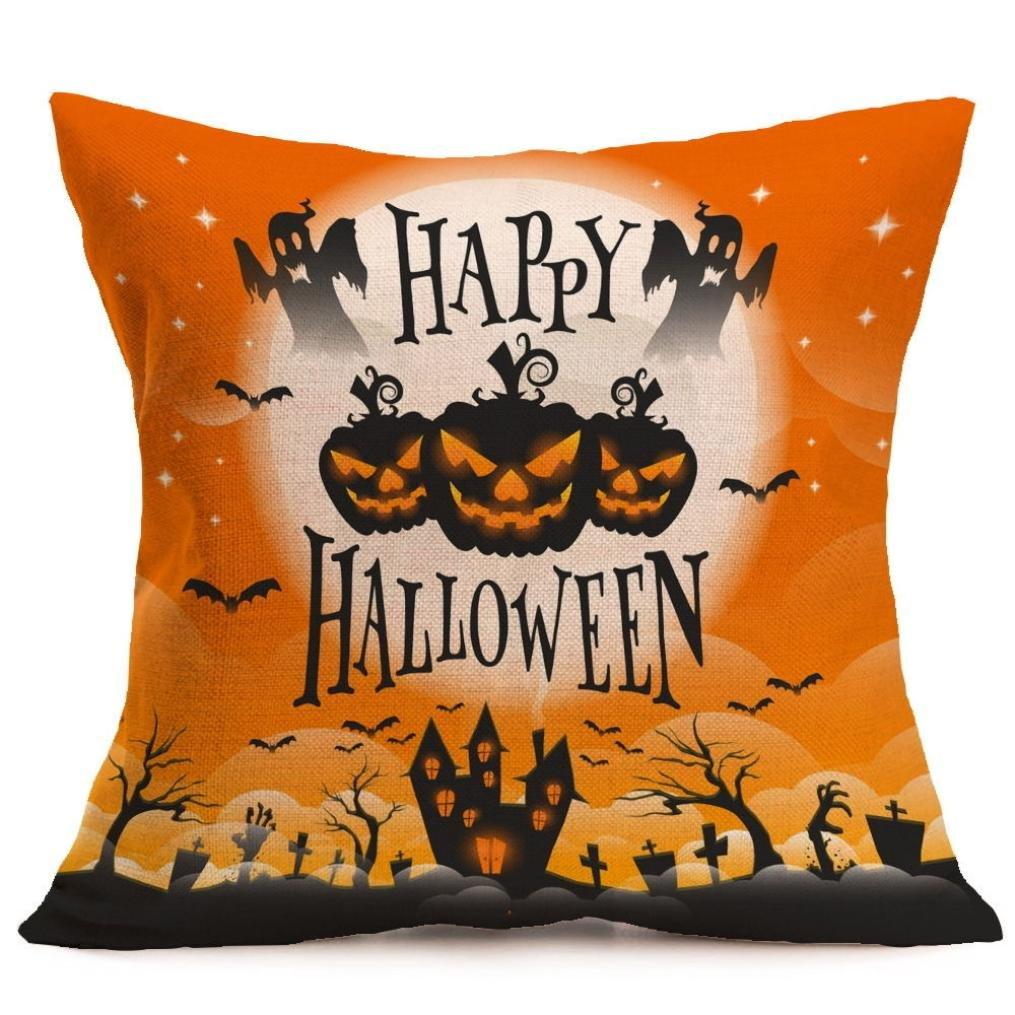 Pillow Case Neartime Happy Halloween Pillow Cases Linen Sofa Cushion Cover Home Decor (Free, B)