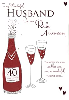For My Husband On Our Ruby 40th Wedding Anniversary Card Icg