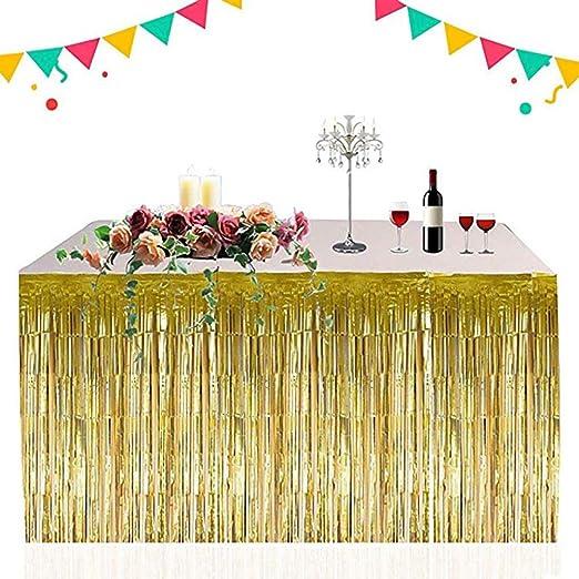 Table Skirt Faldón de Mesa Decorativo Dorado metálico con Flecos ...