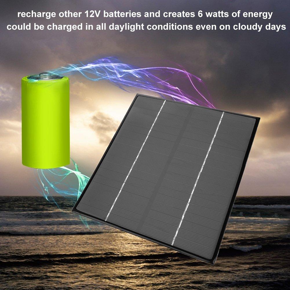 12V 6W Multi Funktions Mono Solarpanel Ladeger/ät f/ür Outdoor Aktivit/äten Dilwe Solar Panel