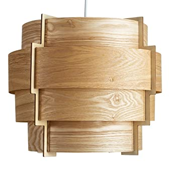 Modern designer retro persia wood veneer round stepped drum modern designer retro persia wood veneer round stepped drum ceiling pendant light shade mozeypictures Choice Image
