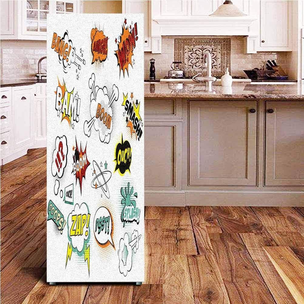 Angel-LJH Superhero 3D Door Fridge DIY Stickers,Old Fashioned Comics Inspired Artwork Retro Fictional Effects Cartoon Motifs Door Cover Refrigerator Stickers for Home Gift Souvenir,24x59