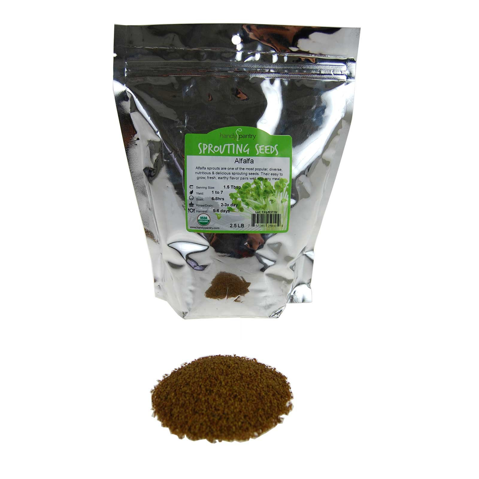Certified Organic Alfalfa Sprouting Seed- 2.5 Lbs - Handy Pantry Brand - High Sprout Germination- Gardening, Growing Salad Sprouts, Planting, Food Storage & More by Handy Pantry