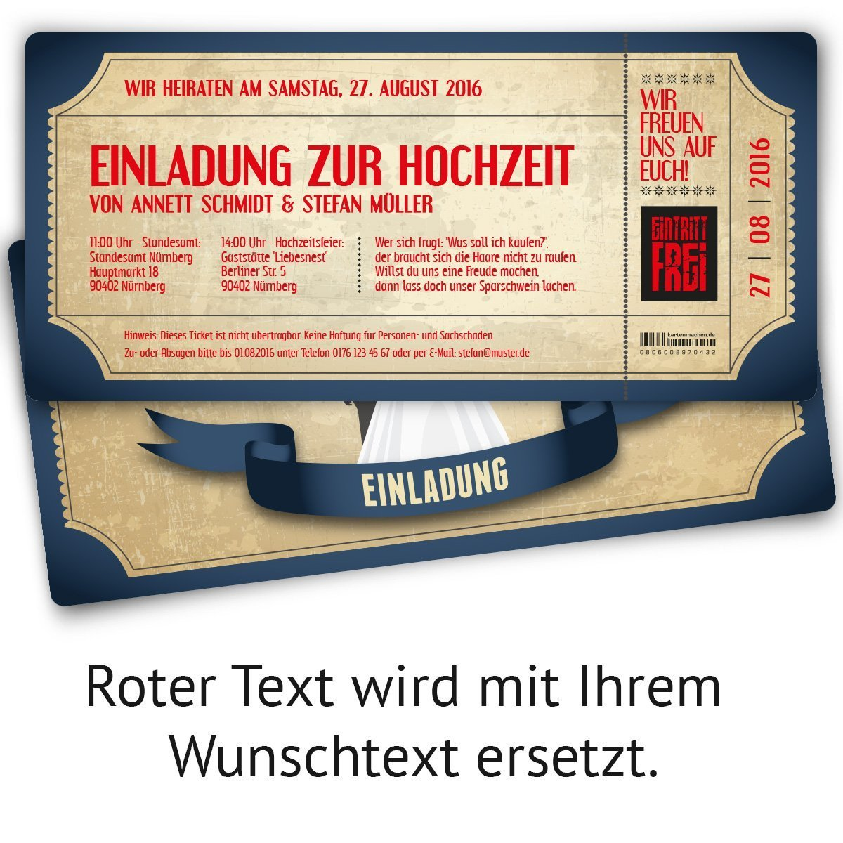 Einladungskarten Zur Hochzeit (20 Stück) Als Eintrittskarte Im Vintage  Ticket Look Hochzeitskarten In Blau: Amazon.de: Bürobedarf U0026 Schreibwaren