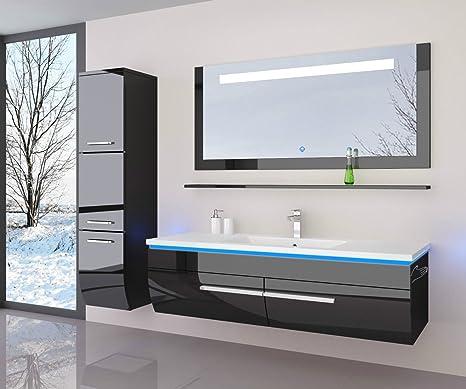Danny Badmobelset 120 Cm Schwarz Vormontiert Badezimmermobel Waschbeckenschrank Mit Waschtisch Spiegel 1x Hochschrank Mit Led Beleuchtung Hochglanz