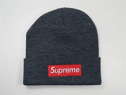Supreme Beanie Sombreros/gorros (gris con blanco logo)
