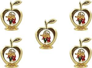 GoldGiftIdeas Apple Shape Radhe Krishna Idol for Car Decor (Radha Ramana), Idol for Table Decor, Return Gift for Housewarming, Good Luck God Idol for Gift (Pack of 5)