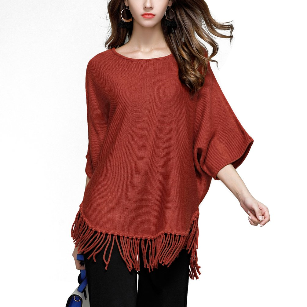 Rysly Womens Fashion Batwing Sleeve Loose Knit Sweater Pullover TOP Tassels L Wine Red