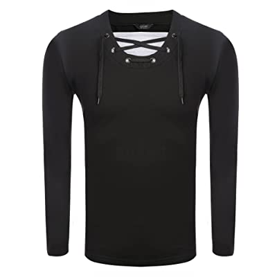 COOFANDY Men's Casual Lace Up V Neck Slim Fit Long Sleeve Pullover T-Shirt | .com - Click Image to Close