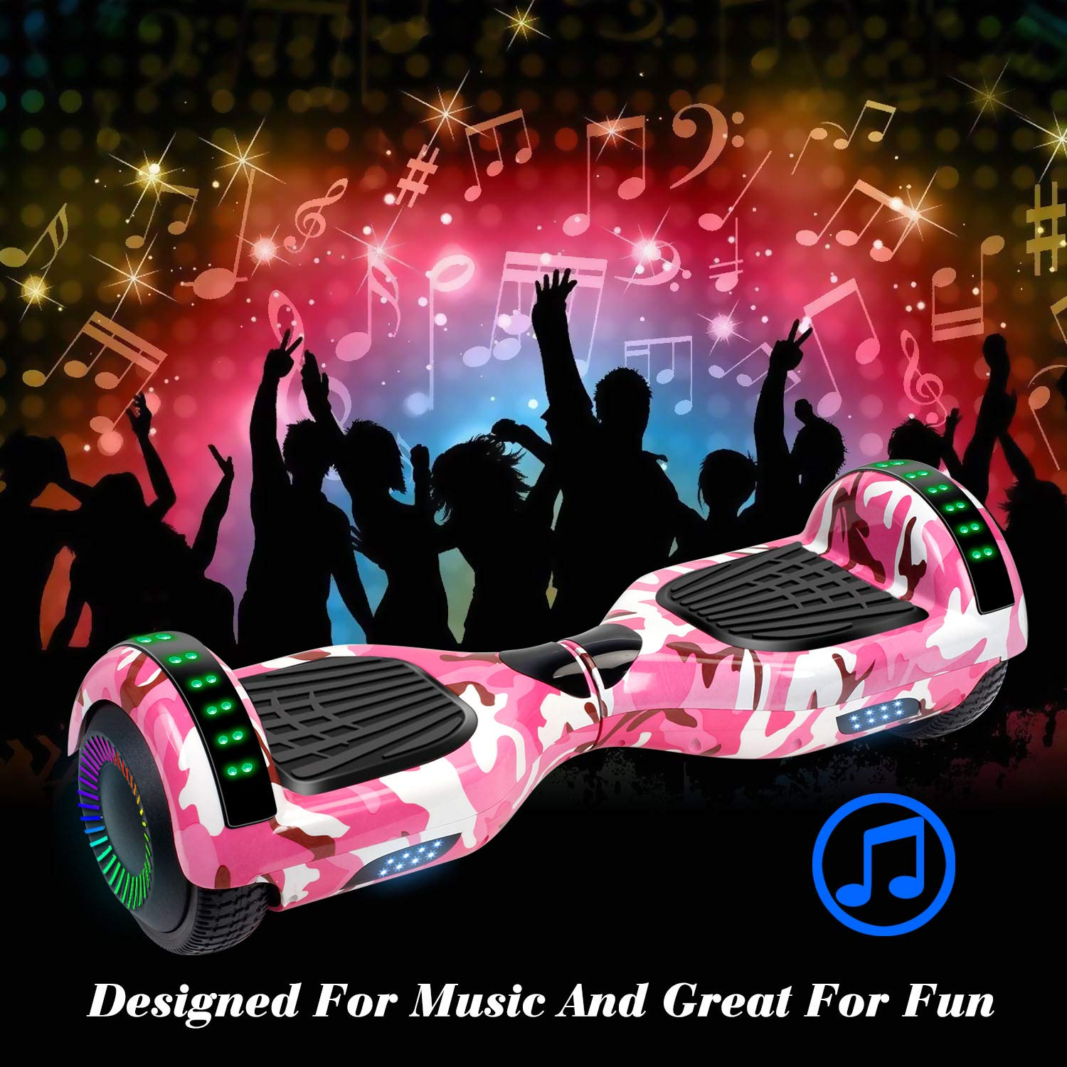 SISIGAD Hoverboard Self Balancing Scooter 6.5'' Two-Wheel Self Balancing Hoverboard with Bluetooth Speaker and LED Lights Electric Scooter for Adult Kids Gift UL 2272 Certified Fun Edition - Pink Camo by SISIGAD (Image #4)