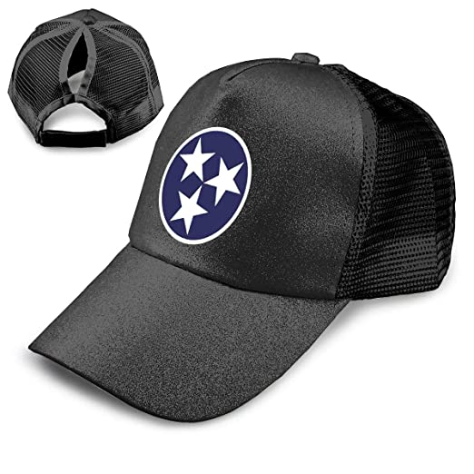 893082e2eb10ab Tennessee Tri Star Flag Unisex Adjustable Baseball Cap Trucker Pony Hats  Adults Sequined Mesh Cap Black