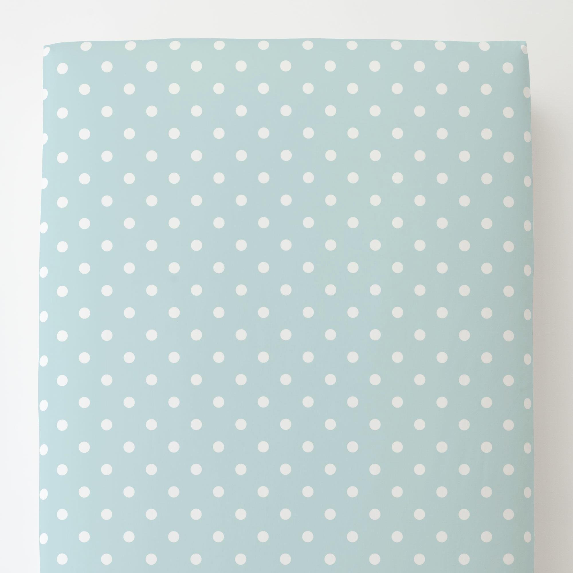 Carousel Designs Mist and White Polka Dot Toddler Bed Sheet Fitted