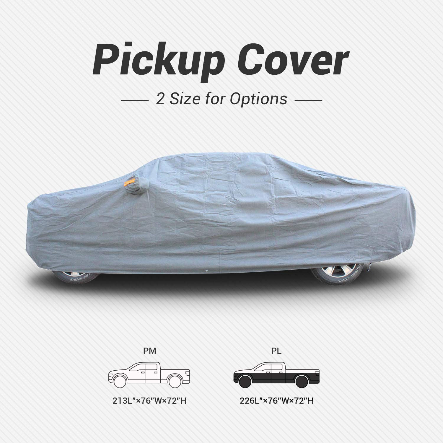 Tecoom Heavy Duty Truck Pickup Cover Breathable Waterproof Windproof with Antenna Patch All Season Weather-Proof Fit Pickup Length Up to 215 Inches