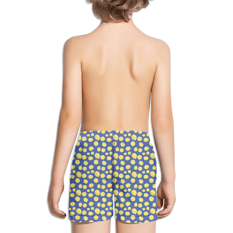 Boys Girls Lemon Tropical Fruit Slice White Swimming Trunks Running Swim Wear Casual Boardshorts