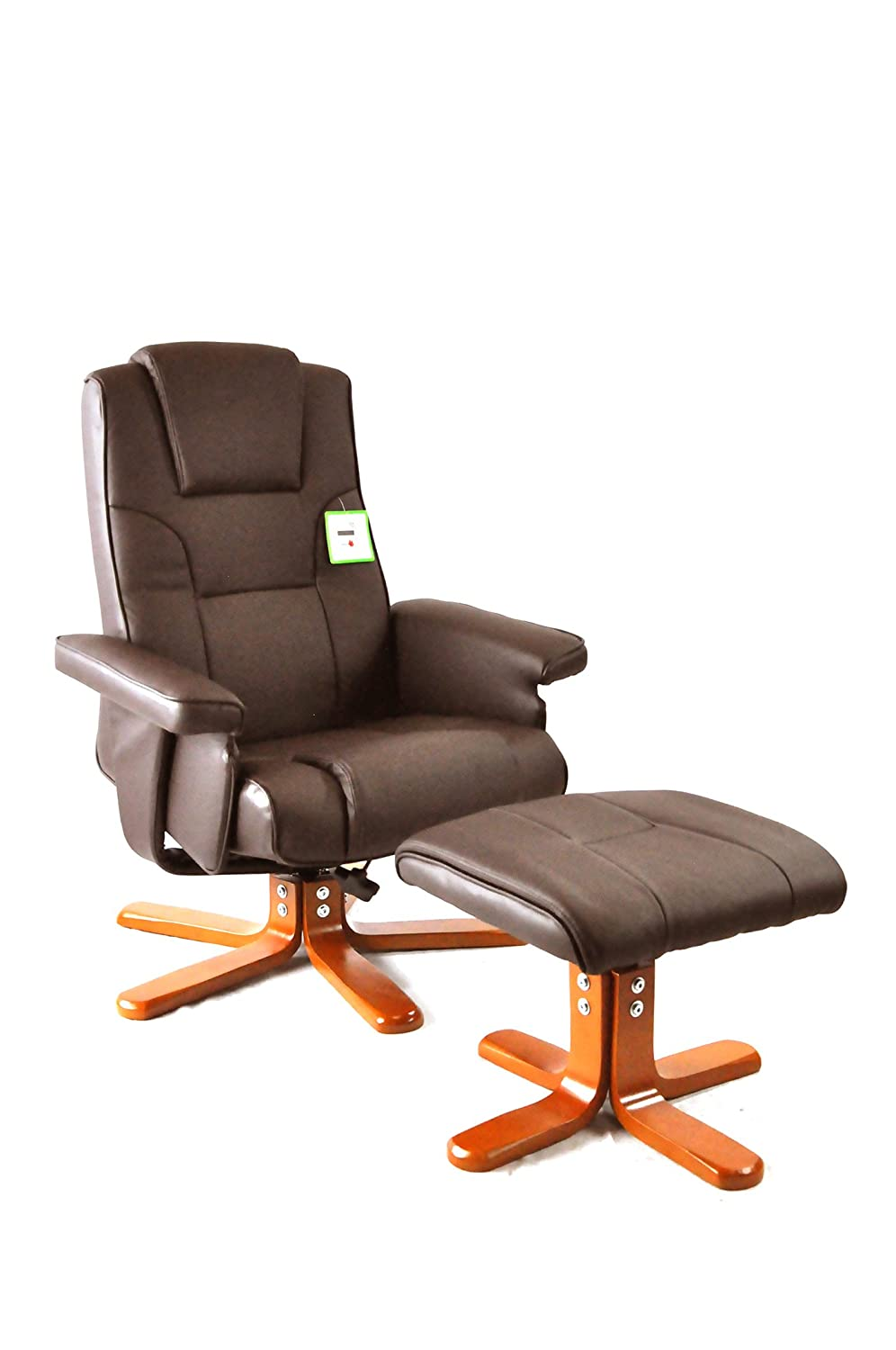 Armchair Recliner With Footstool Executive PU Leather Luxury Faux High Back  Reading Chair For Home Study Office Desk By Harvey Williams   Brown: ...