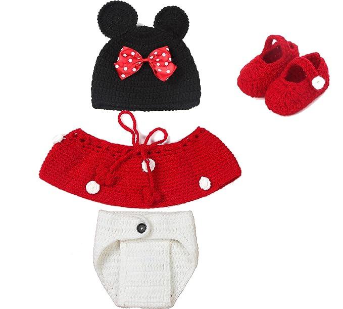 Punto de ganchillo para bebé fotos traje 4 tlg. Mickey Mouse Minnie ...