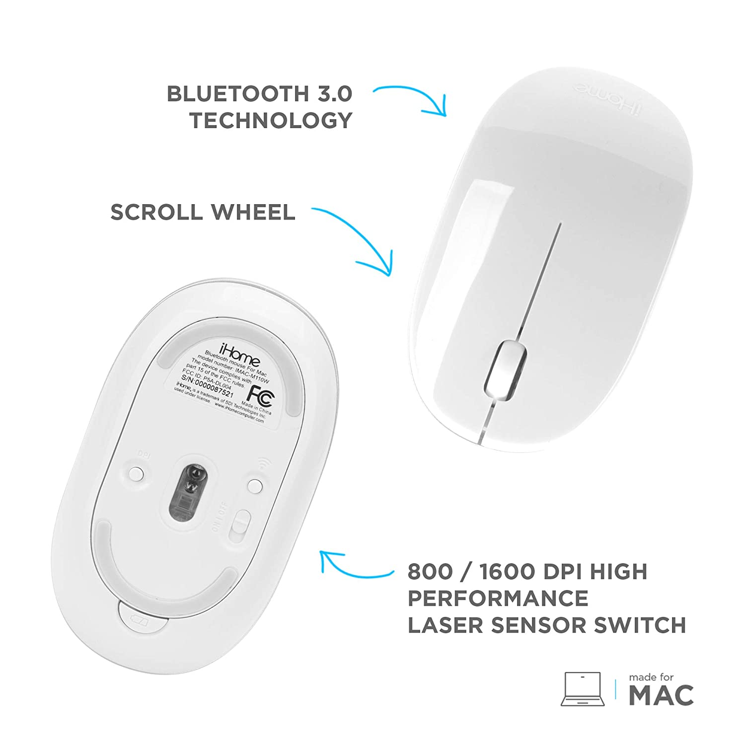 9d74fb0be5f Amazon.com: iHome Wireless Bluetooth Laser Mac Mouse with Scroll Wheel,  3-Buttons, 1600 DPI, Laptops and Computers, Slim and Compact, Right or Left  Hand Use ...