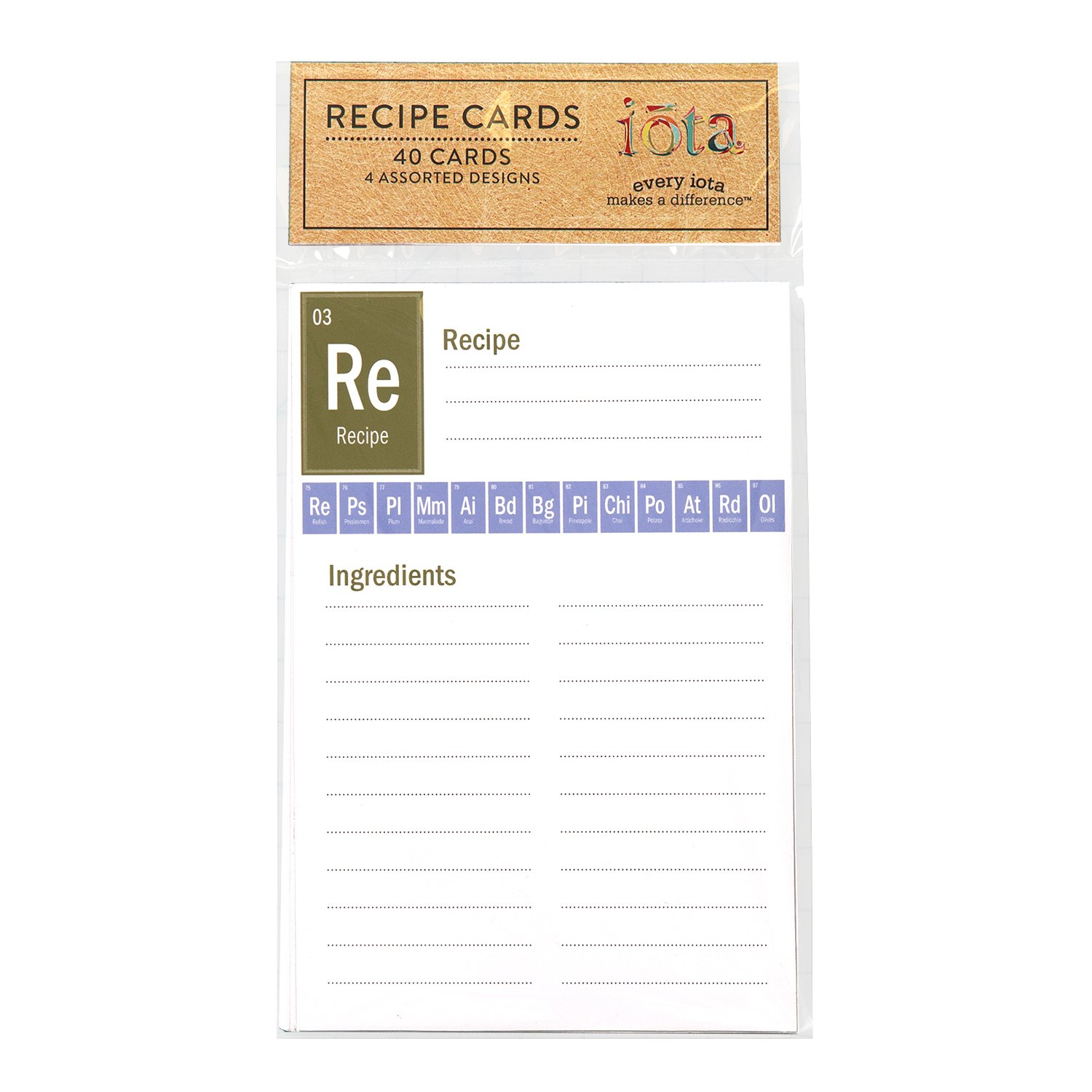 By Iota C.R Gibson 40 Count Recipe Cards Cards Measure 4 x 6 Periodic Table Lined Back To Front