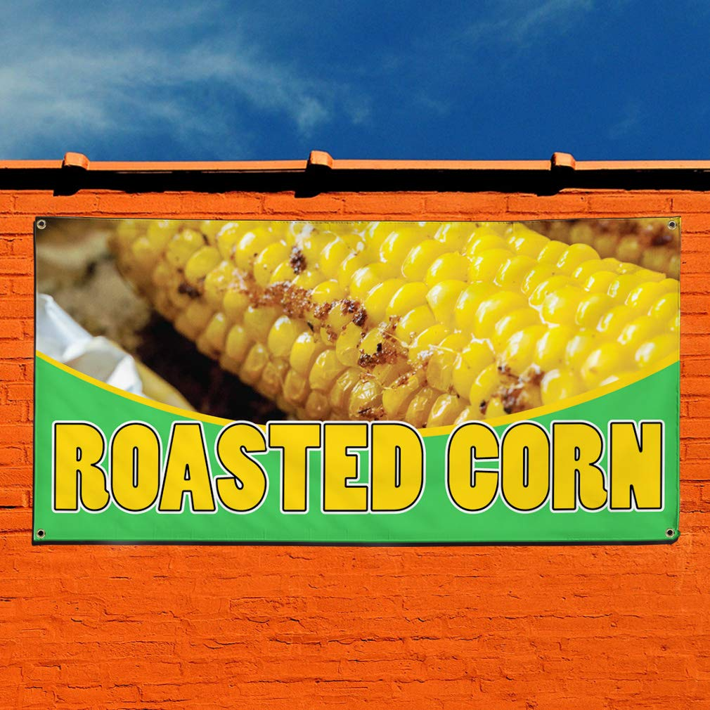 One Banner 8 Grommets Vinyl Banner Sign Roasted Corn #1 Style C Sweet Corn Marketing Advertising Yellow Multiple Sizes Available 44inx110in
