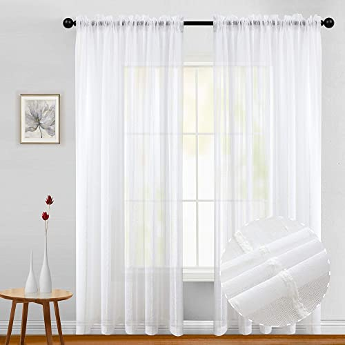Joywell Elegant Pure Linen Sheer Curtains for Bedroom, 2 Panels Privacy Protection Window Treatment Drapes for Living Room, Textured Linen Semi-Sheer, 54 by 95 Inch, Bleach