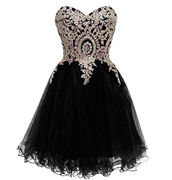 985c6e765e9 Lemai Little Black Tulle Gold Lace Crystals Prom Homecoming Cocktail Dresses  US 2