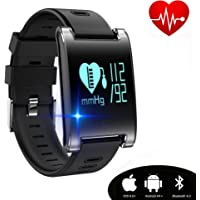 kingkok Blood Pressure Monitor Touch Screen Personal Fitness Tracker Waterproof Pedometer Heart Rate Activity Tracker Watch