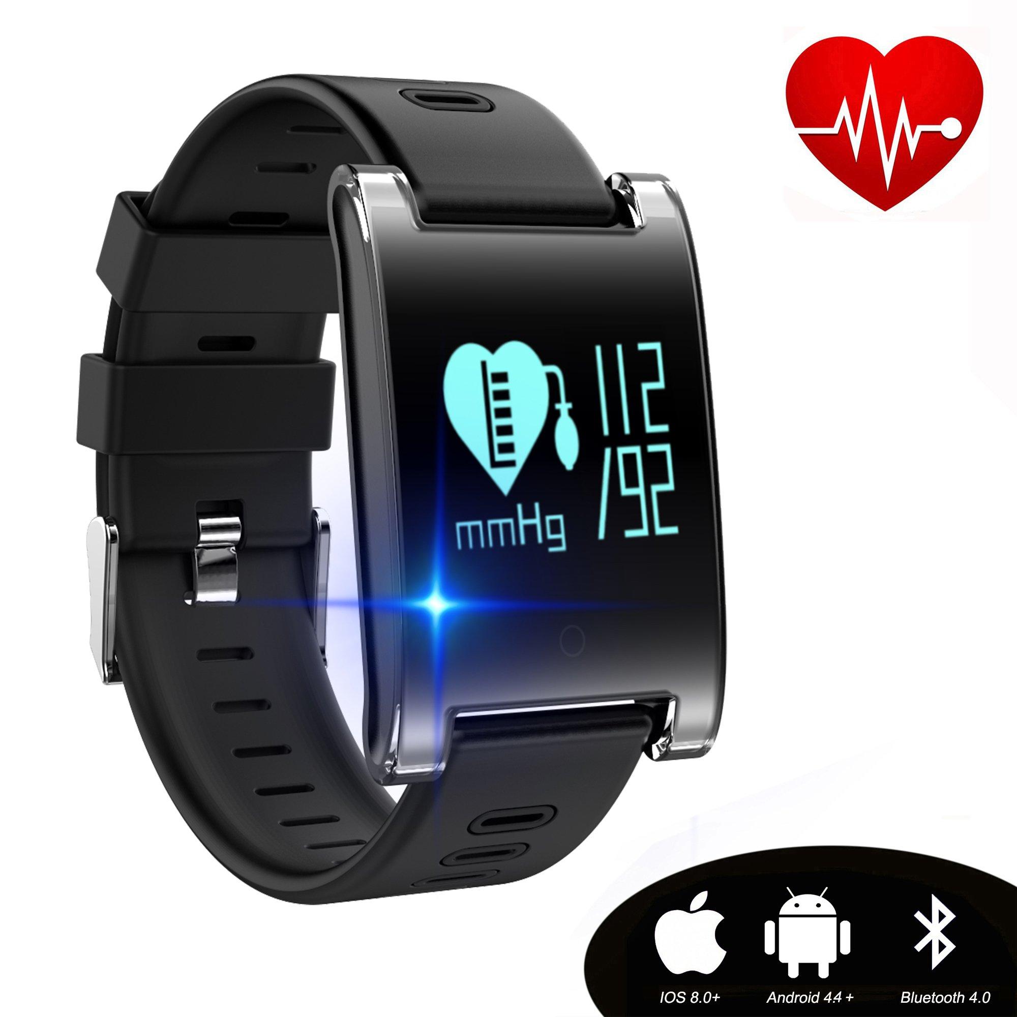 kingkok Blood Pressure Monitor Touch Screen Personal Fitness Tracker Waterproof Pedometer Heart Rate Activity Tracker Watch [Black]