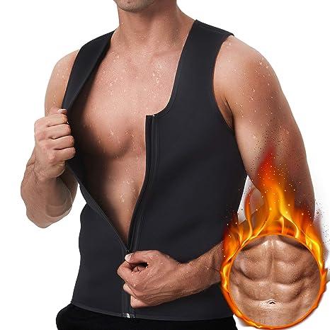 dc6efb59dd7c1 Image Unavailable. Image not available for. Color  GKVK Men Waist Trainer  Vest for Weightloss Hot Neoprene Corset Body Shaper Zipper Sauna ...