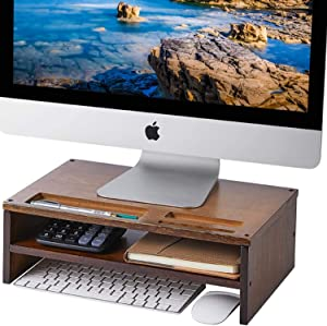 HUVIBE Monitor Stand Riser, 2 Tiers Bamboo Desktop Stand for Laptop Computer, Desk Organizer with Phone Holder, Organization Stand for Printer & Office Supplies -Walnut Brown