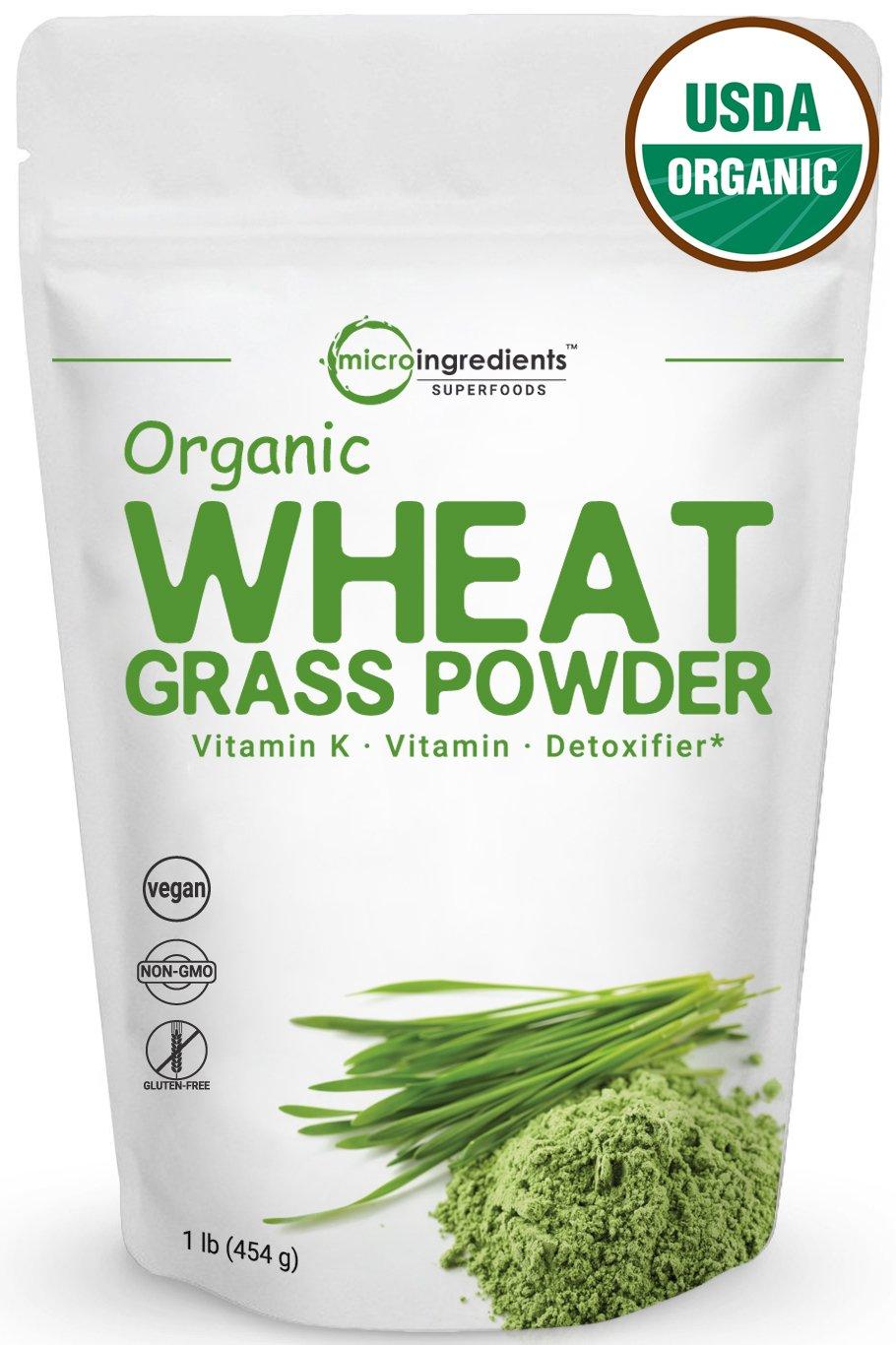 Sustainably US Grown, Organic Wheat Grass Powder, 150 Serving (1 Pound), Rich Fiber, Chlorophyll, Antioxidants, Essential Amino Acids, Fatty Acids, Minerals & Vitamins. Best Vegan & Non-GMO SuperFoods by Micro Ingredients
