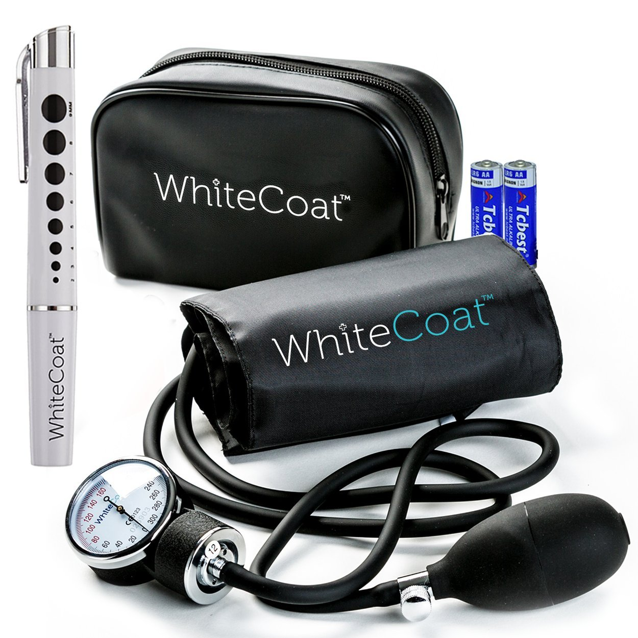 White Coat Manual Blood Pressure Cuff – Deluxe Aneroid Sphygmomanometer with Bonus LED Penlight, Adult Sized Black Cuff and Carrying Case Included