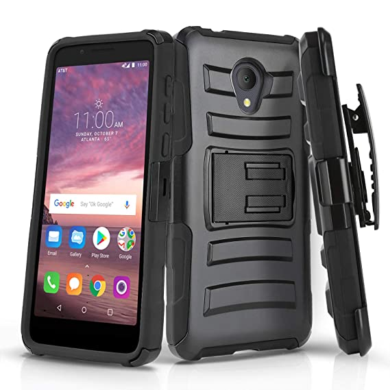 Phone Case for [ALCATEL TCL LX (A502DL)], [Refined Series][Black]  Shockproof Cover with Kickstand & [Belt Clip Holster] for for Alcatel TCL  LX