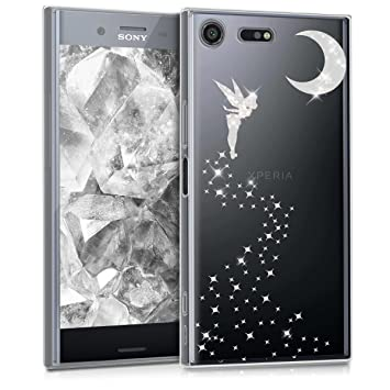 kwmobile Funda para Sony Xperia XZ Premium - Carcasa Protectora de [TPU] con diseño de Hada Brillante en [Plata/Transparente]