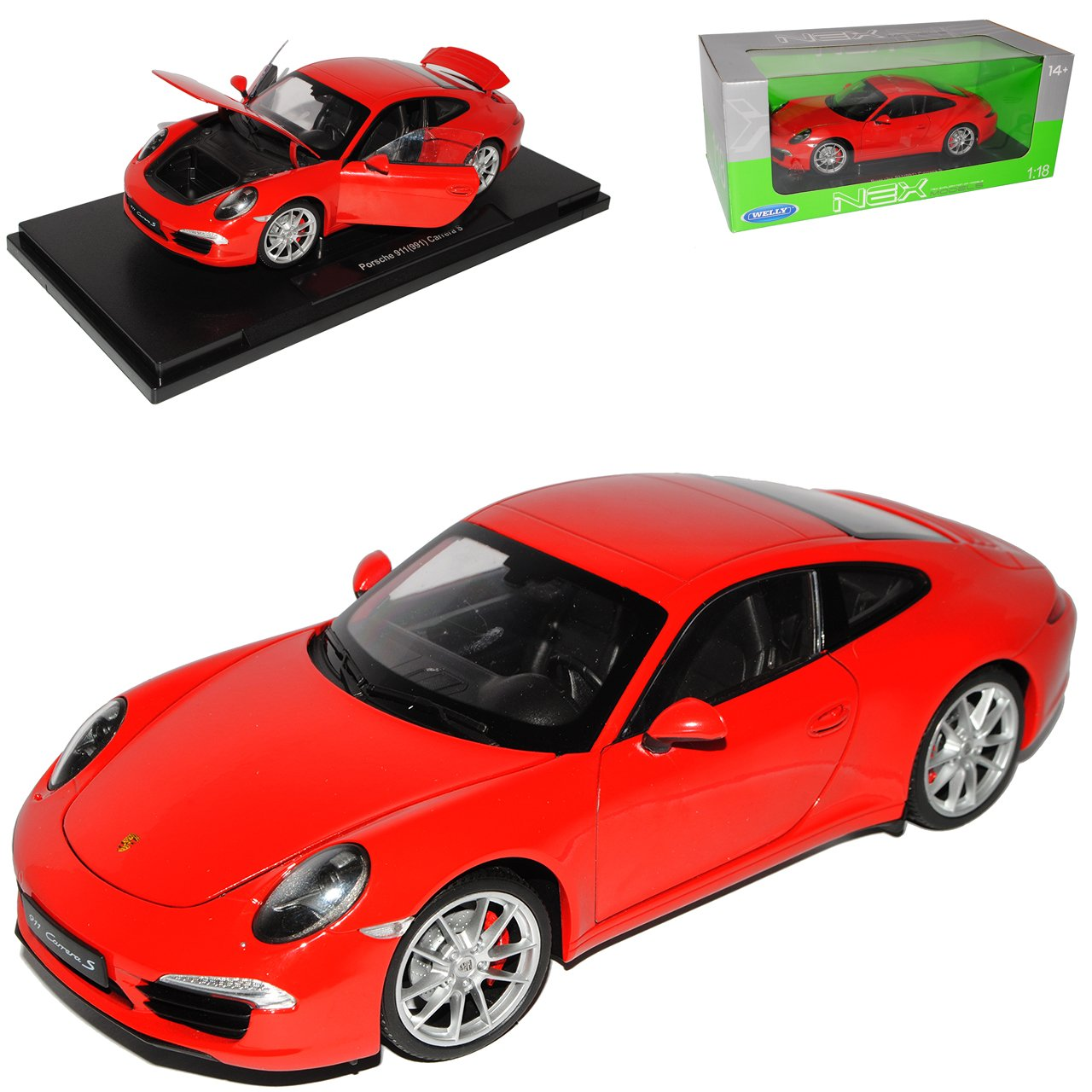 Welly Porsche 911 991 Carrera S Coupe Rot Ab 2012 1/18 Modell Auto