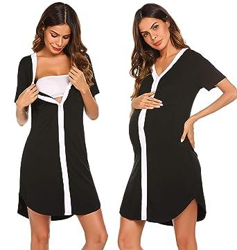 509d1db63c0 Ekouaer Sleepshirt Women Button-Front Nightshirt Short Sleeve Nightgown  Sleepwear