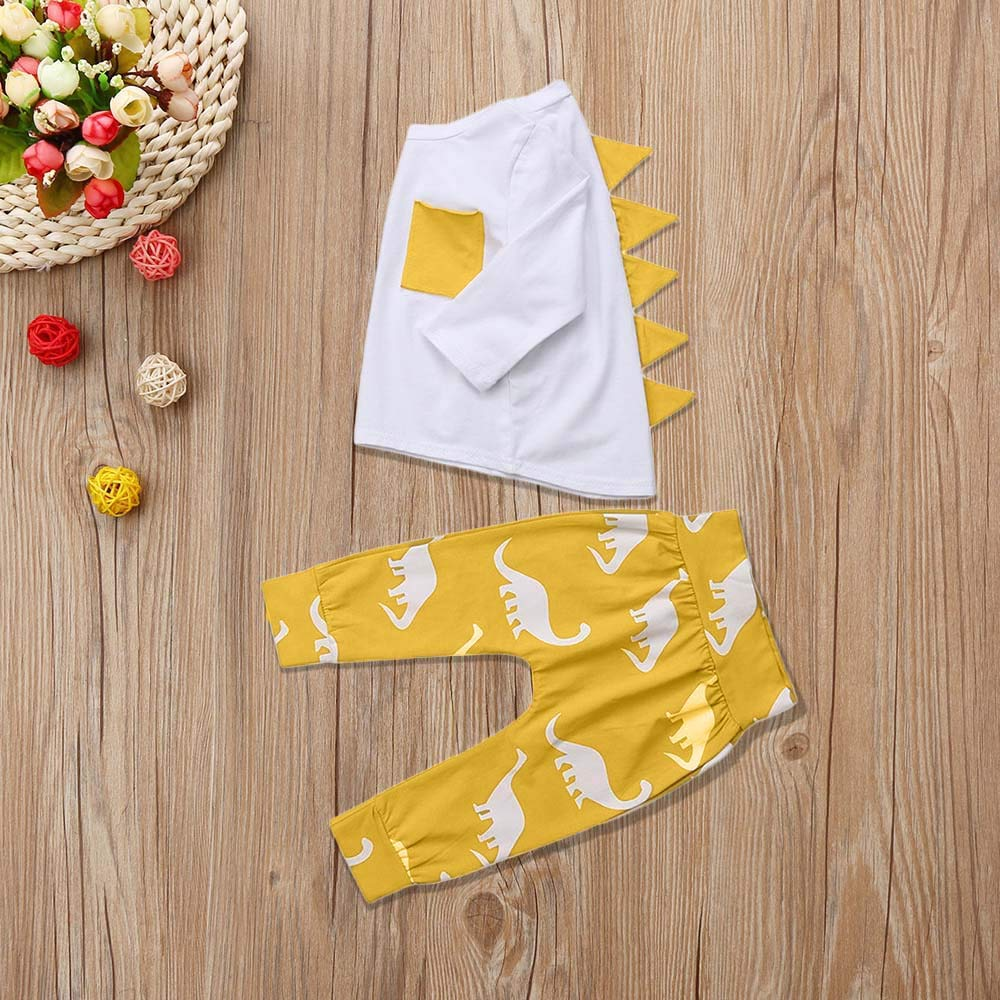 Zerototens Kids Clothing Set,0-3 Years Unisex Baby Boys Girls Long Sleeve Yellow Dinosaurs Printing T-Shirt Tops and Sportpants Autumn Children Tracksuit Casual Outfit Set