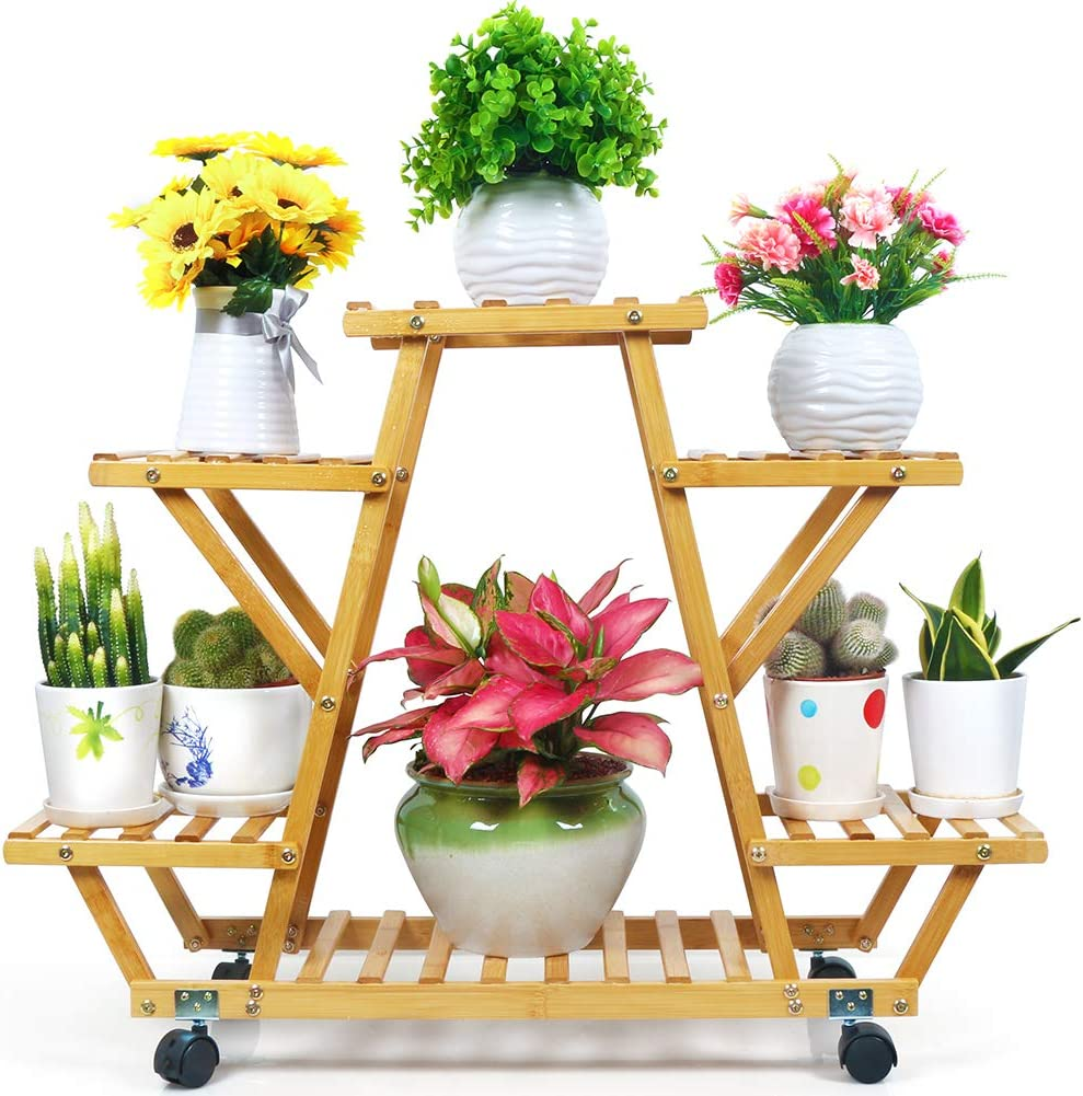 Foldify Bamboo Plant Stand with Wheels Multi-Layer Rolling Plant Flower Pots Holder Display Shelf Indoor&Outdoor Unit for Patio Corner Balcony Living Room Garden Yard (6 Flowerpots)