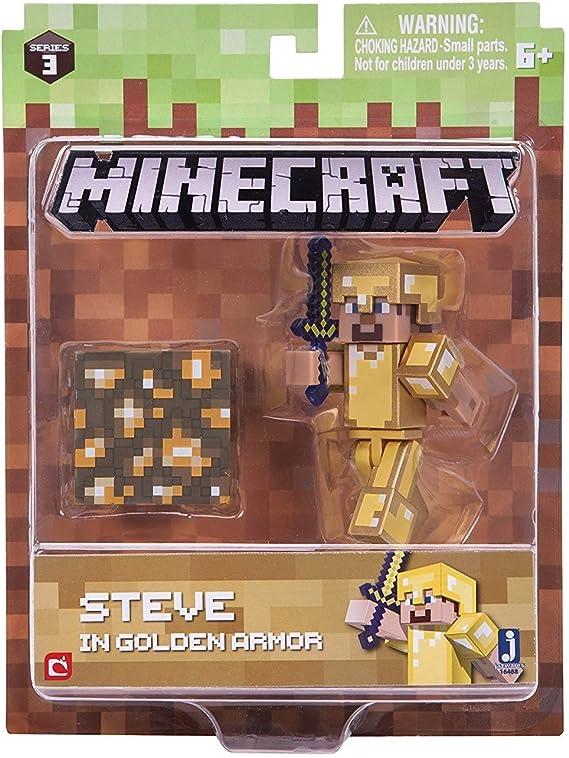 Minecraft 16488 - Figura de acción de 7,62 cm – Steve in Gold Armour Pack: Amazon.es: Juguetes y juegos
