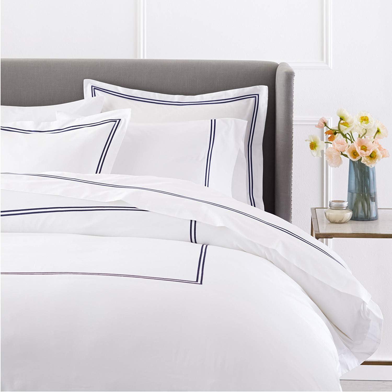 Dornick Decor 400 Thread Count 100% Cotton Sateen Hotel Stitch Duvet Cover Set Queen Navy