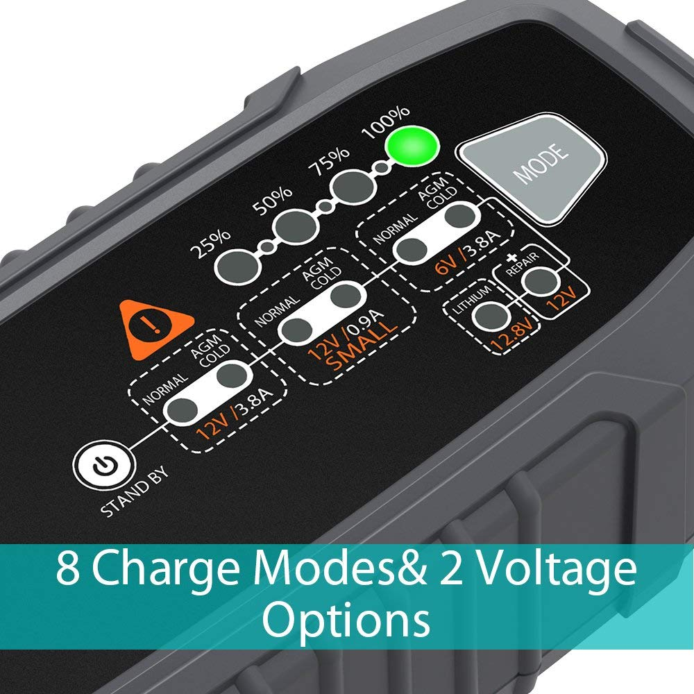 6V// 12V 3.8Amp Automotive Battery Charger and Maintainer 8 Charging Modes with Intelligent IC for Car//Motorcycle//Lawn Mower//boat//RV//SUV//ATV and More AUTOXEL Battery Charger for Car