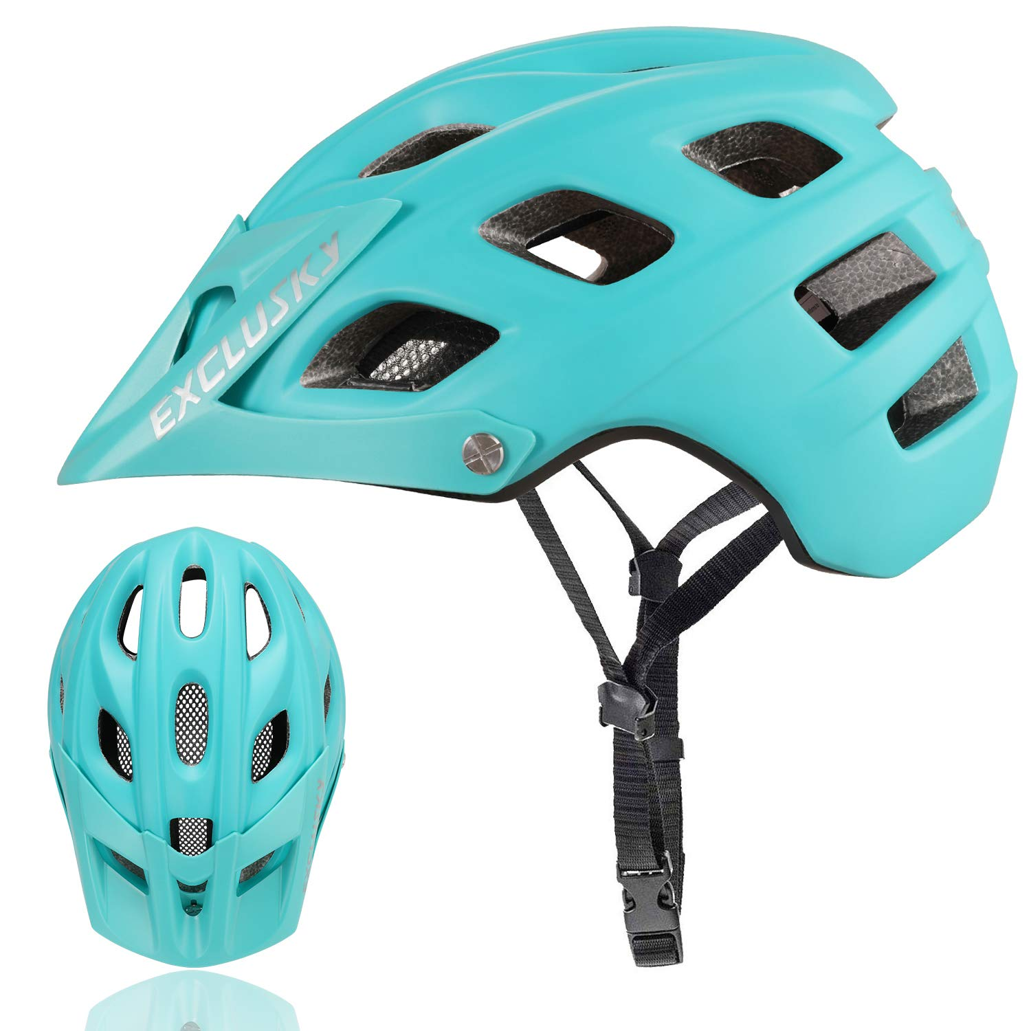 Exclusky Mountain Bike Helmet with Detachable Visor for Adult Women and Men - Adjustable M L Size (22.05-24.01 Inches) by Exclusky
