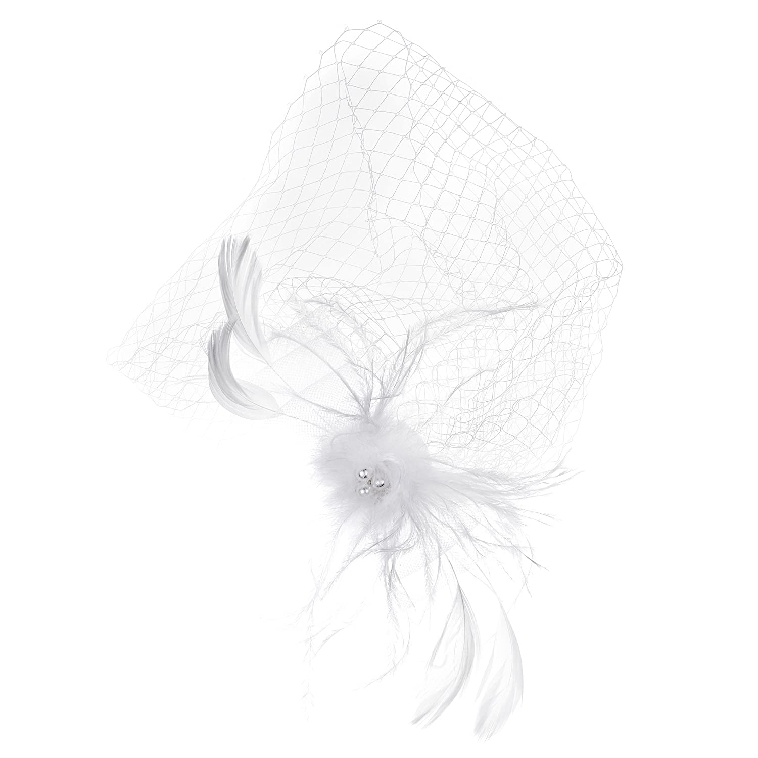 Kloud City Bridal Feather Veil With Hair Clip Birdcage Women's Fascinator Veil