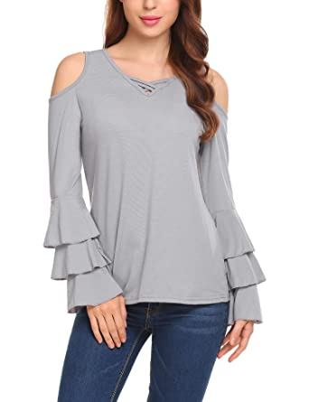 7d9a85d86d3 EASTHER Women's Casual V-Neck Cold Shoulder Layered Ruffle Bell Sleeve Tops  Blouse