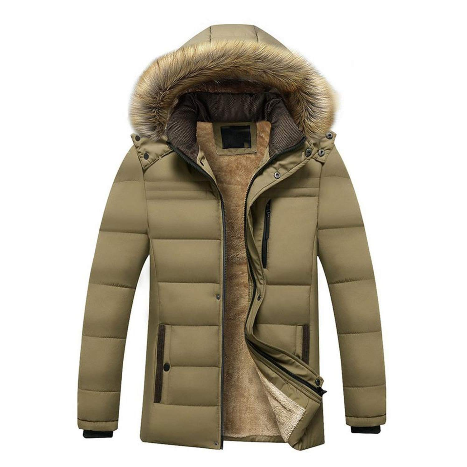 Amazon.com: Winter Casual Hoodie Thickened Cashmere Cotton Padded Jacket Coat Waterproof Windproof: Clothing