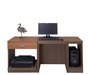 Home Mobiliario de Oficina UK pequeño Ordenador portátil Impresora Mesa para niños Kids Escritorio Set, Madera, Madera de Teca, Grano de Madera Perfil, ...