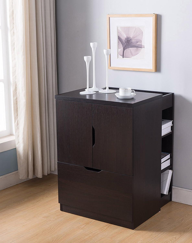Smart Home 161738 Printer Station File Cabinet Credenza, Red Cocoa Color, File Organizer